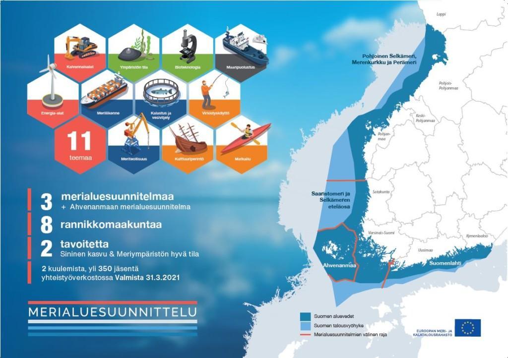 Merialuesuunnitelman tavoitteena on sininen kasvu ja meren hyvä tila. Merialuesuunnitelma laaditaan merialueelle, joka kattaa aluevedet ja talousvyöhykkeen aina rantaviivasta talousvyöhykkeen ulkorajaan saakka. Suunnitelmassa tarkastellaan 11 merellistä toimialaa: joita ovat erityisesti energia-ala, meriliikenne, kalastus ja vesiviljely, matkailu, virkistyskäyttö sekä ympäristön säilyttämisen, suojelun ja parantamisen ja lisäksi kulttuuriperintö, meriteollisuus, kaivannaisala ja sininen bioteknologia. Myös maanpuolustuksen tarpeet on otettava huomioon. Suomen merialuesuunnitelma valmistellaan kolmessa osassa ja Ahvenanmaa laatii oman suunnitelmansa. Kahdeksan rannikon maakuntaliittoa laativat merialuesuunnitelmat. Suunnitelmien tulee olla valmiit 31.3.2021 mennessä.